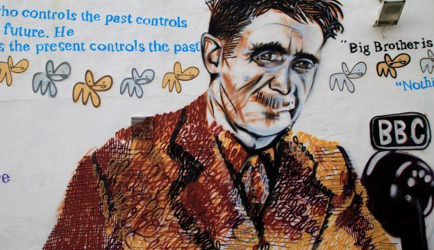 Mural of George Orwell. Southwold, Suffolk, UK