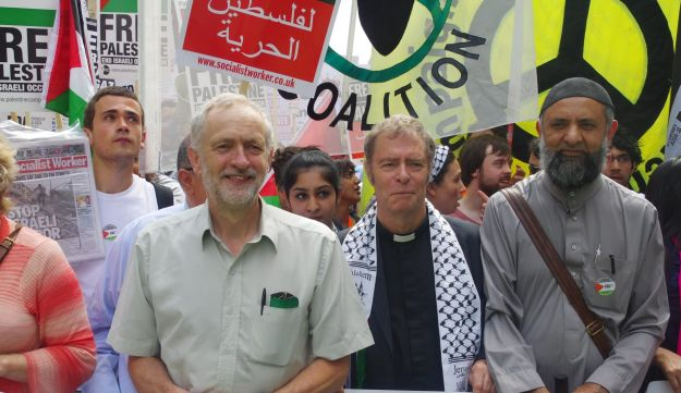 Then-MP Jeremy Corbyn marches from Downing Street to the Israeli embassy in support of Palestinian demands that the Israeli government stop the bombing of Gaza. 19th July 2014