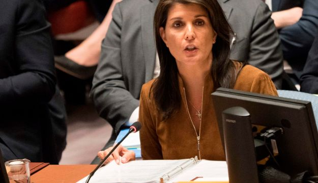 U.S. Ambassador to the UN Nikki Haley speaks during an emergency United Nations Security Council meeting on April 9, 2018.