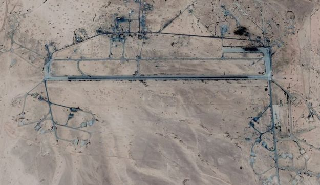 The T-4 base, near Palmyra, that was attacked.