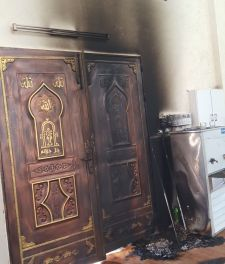 West Bank mosque targeted by unknown vandals in suspected hate crime in village of Aqraba, near Nablus, April 13 2018 Zachariah Sade