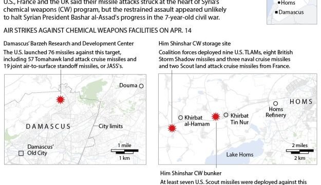 Western powers said their missile attacks on Apr. 14 struck at the heart of Syria's chemical weapons program.