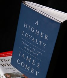 "A copy of former FBI Director James Comey's new book, ""A Higher Loyalty: Truth, Lies and Leadership,"" is on display, Friday, April 13, 2018, in New York."