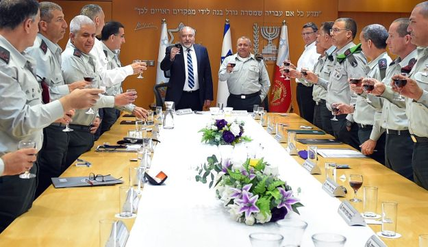 Defense Minister Avigdor Lieberman attends Independence Day event with Israel Defense Forces staff