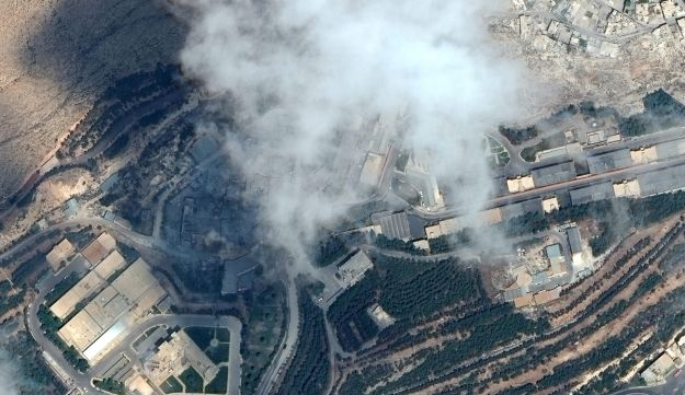 A satellite image showing the Barzah Research and Development Center after being struck by U.S. and coalition operations in Damascus, Syria, April 14, 2018