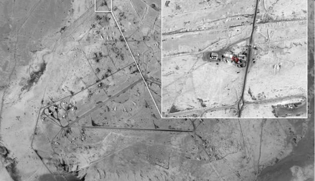Aerial photo showing Iranian UAV crew at Sayqal Military Airbase in Syria