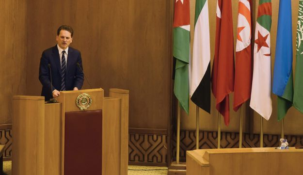 UNRWA Commissioner-General Pierre Kraehenbuehl attends the Arab League foreign ministers emergency meeting on U.S. President Donald Trump's decision to recognize Jerusalem as the capital of Israel, in Cairo, February 1, 2018.