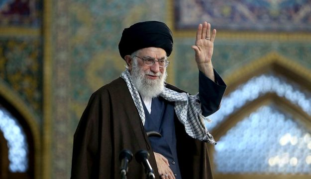 Supreme Leader Ayatollah Ali Khamenei waves to his supporters during his visit to Mashhad, Iran, March 21, 2018.