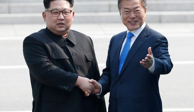 South Korean President Moon Jae-in and North Korean leader Kim Jong Un meet in the truce village of Panmunjom inside the DMZ, April 27, 2018.