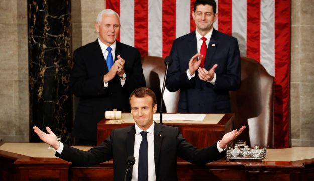 French President Emmanuel Macron speaks to a joint meeting of Congress in a last-ditch appeal to salvage the Iran nuclear deal. April 25, 2018.