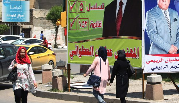 Campaign posters in Baghdad on April 30, 2018, ahead of the upcoming Iraqi parliamentary elections
