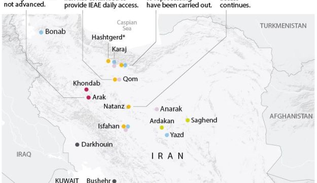 Map locating Iran's Nuclear facilities