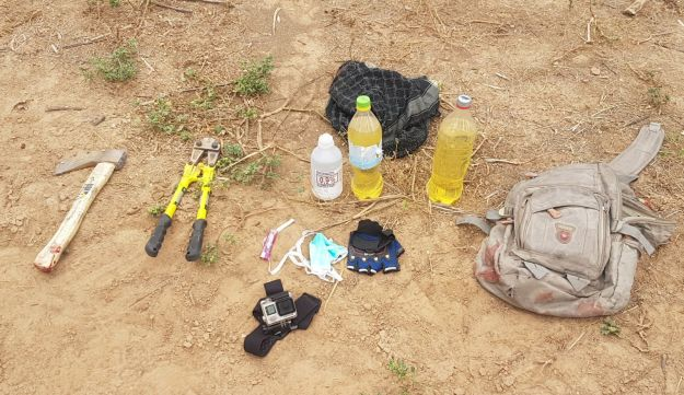 The items found in a bag carried by the Palestinians who tried to breach the border fence, May 6, 2018.