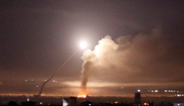 Missile fire as seen from Damascus, Syria May 10, 2018.
