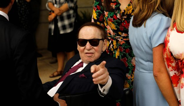 Sheldon Adelson is seen ahead of the dedication ceremony of the new U.S. embassy in Jerusalem, May 14, 2018