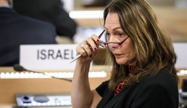 "Israel's Ambassador Aviva Raz Shechter gestures during a special session of the United Nations (UN) Human Rights Council to discuss ""the deteriorating human rights situation"" in the Palestinian Territories, on May 18, 2018 in Geneva, after Israeli forces killed 60 Palestinians.
