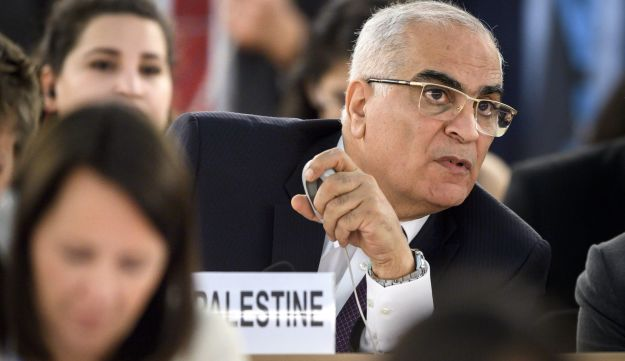 "Palestinian Ambassador to the United Nations Ibrahim Khraishi looks on during a special session of the United Nations (UN) Human Rights Council to discuss ""the deteriorating human rights situation"" in the Palestinian Territories, after Israeli forces killed 60 Palestinians, on May 18, 2018 in Geneva.