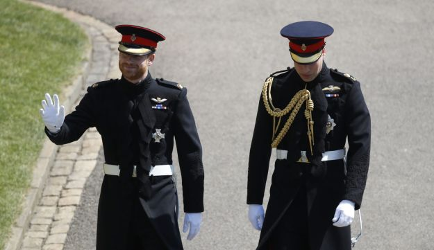 Britain's Prince Harry, Duke of Sussex, with his best man Prince William, Duke of Cambridge, for his wedding ceremony to marry U.S. actress Meghan Markle in Windsor, England on May 19, 2018.
