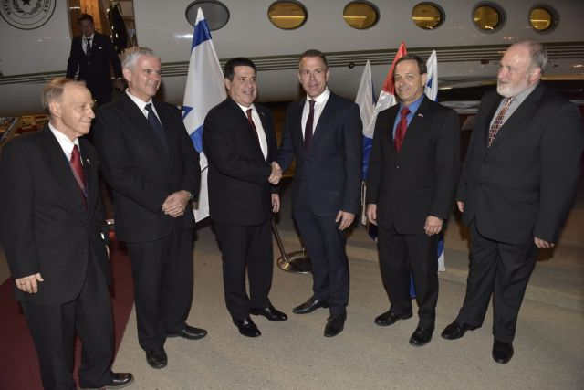 Third from left: Paraguayan president Horacio Cartes and MK Gilad Erdan after the president landed at Ben-Gurion airport, May 20, 2018.