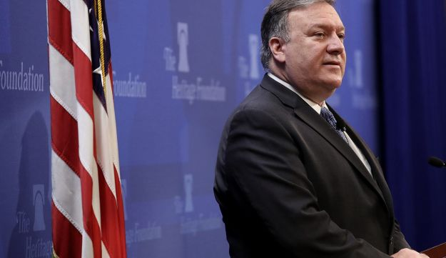 U.S. Secretary of State Mike Pompeo speaks at the Heritage Foundation May 21, 2018 in Washington, D.C.