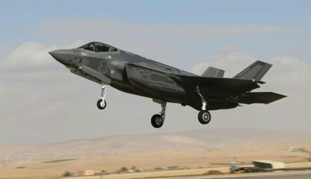 An F-35 flies at Nevatim base in southern Israel, 2017.