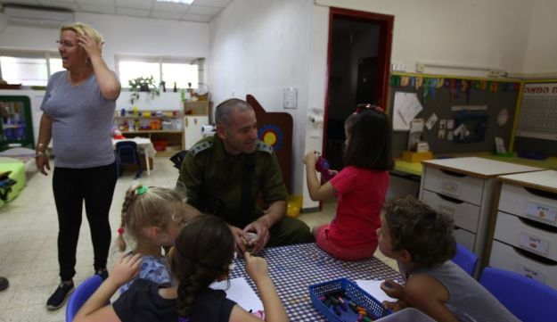 Israeli army at a kindergarten in southern Israeli after morning attack, May 29, 2018.