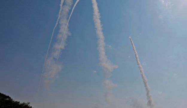 Iron Dome air defence system, designed to intercept and destroy incoming rockets and artillery shells, fires from southern Israeli city of Ashkelon, May 29th, 2018