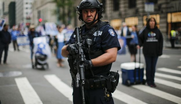 NEW YORK, NY - JUNE 03: A NYPD officer stands guard during the annual Celebrate Israel Parade on June 3, 2018 in New York City. Security will be tight for the parade which marks the 70th anniversary of the founding of Israel.   Kena Betancur/Getty Images/AFP