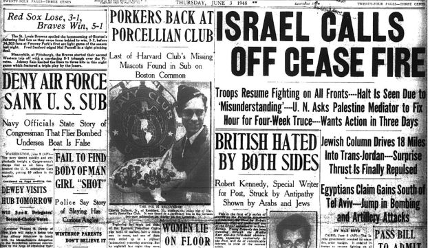 "The front page of the Boston Post with Robert Kennedy's story ""British Hated by Both Sides,"" June 3, 1948."