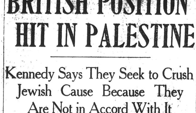 "The third of Bobby Kennedy's special reports for the Boston Post in 1948, titled ""British Position hit in Palestine."""