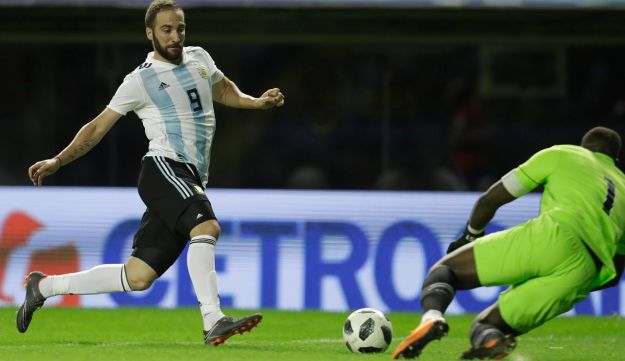 File photo: Argentina's Gonzalo Higuain during a soccer match, May 2018.