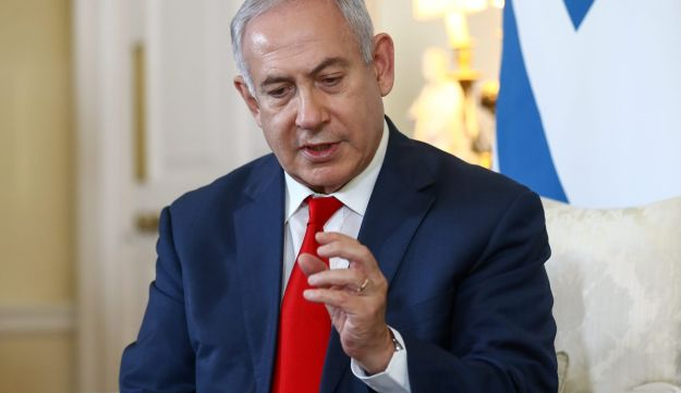 Netanyahu during a bilateral meeting with Theresa May at Number 10 Downing Street in London, June 6, 2018.
