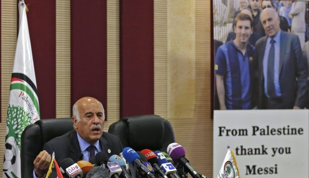"Jibril Rajoub, the head of the Palestinian Football Association, speaks during during a press confer   ence in the West Bank city of Ramallah on June 6, 2018.  Israel lashed out today at Argentina's national football team over the cancellation of a pre-World Cup friendly in Jerusalem, as Palestinians celebrated the decision after protesting the game. The Israeli embassy in Argentina on Tuesday announced the ""suspension"" of Saturday's match with its national team, citing what it called ""threats and provocations"" against Barcelona superstar Lionel Messi. / AFP PHOTO / ABBAS MOMANI"