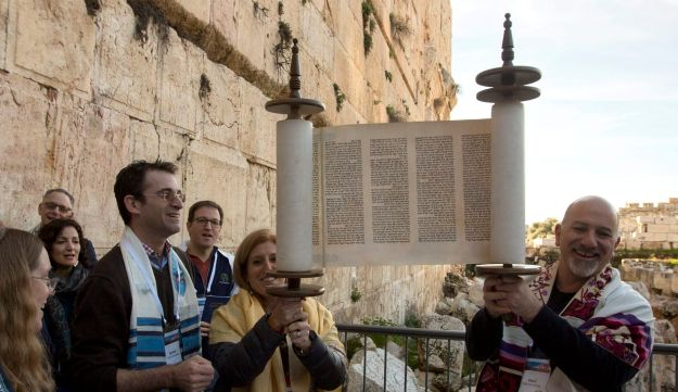 American and Israeli Reform rabbis pray in the Western Wall, Feb. 25, 2016