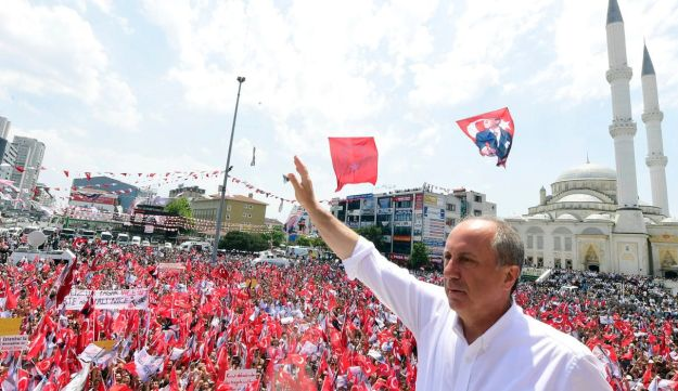 An image showing Muharrem Ince, presidential candidate of Turkey's main opposition Republican People's Party, addresses an election rally in Istanbul