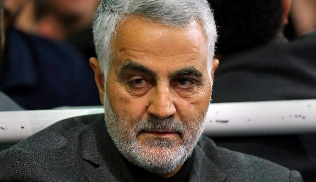 Commander of Iran's Quds Force, Qassem Soleimani, sits in a religious ceremony at a mosque in the residence of Supreme Leader Ayatollah Ali Khamenei in Tehran, Iran, March 27, 2015.
