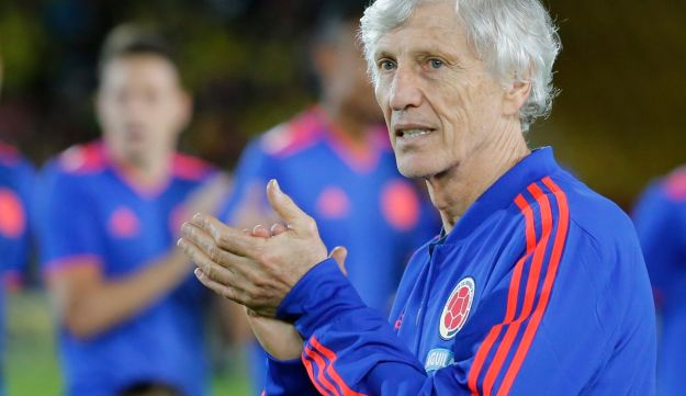 Colombia's national team coach Jose Pekerman applauds prior to an exhibition match at the Nemesio Camacho stadium in Bogota, Colombia, Friday, May 25, 2018.
