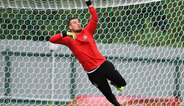Serbia's goalkeeper Predrag Rajkovic in a training session ahead of the Russia 2018 World Cup at Serbia's national football team base camp, June 12, 2018.