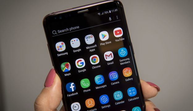 Android apps on the home screen of Samsung Electronics Co. Galaxy S9+ smartphone during media event in San Francisco, California, U.S., on Friday, Feb. 16, 2018.