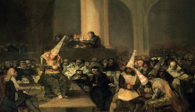 Inquisition Scene, 1812-1819, by Francisco de Goya (1746-1828), oil on panel, Spain, 19th century.