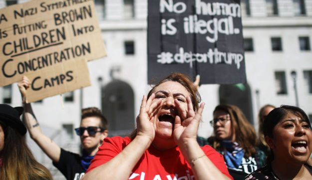 Protestors during a visit to the city by U.S. Attorney General Jeff Sessions on June 26, 2018 in Los Angeles, California.