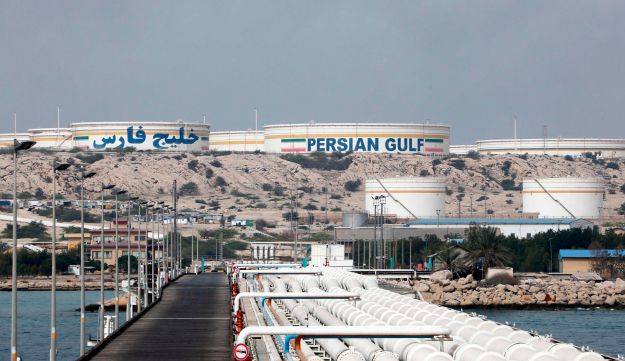 A view of an Iranian oil facility in the Khark Island, on the shore of the Gulf, on March 12, 2017