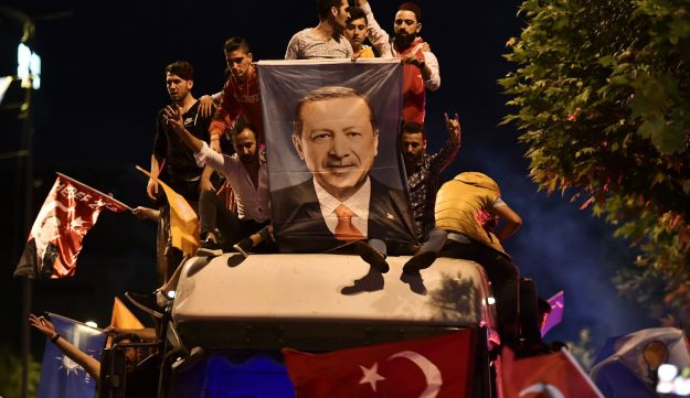 Celebrants in Istanbul after the election victory of President Recep Tayyip Erdogan and his Justice and Development Party, June 24, 2018.