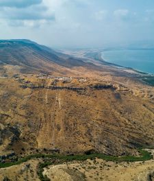 Hippos, the remains of a town stop a hill overlooking the Sea of Galilee