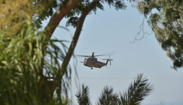 An Israeli helicopter in northern Israel, July 11, 2018.