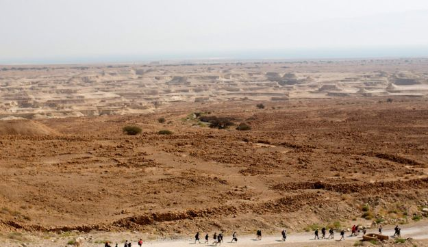 A Birthright Israel group tours Masada, the ancient fortress on a plateau in the desert overlooking the Dead Sea in Israel. 2015