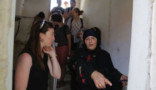 Eight American Jewish Birthright participants who walked off their tour to visit the Sumreen family, under threat of eviction from their home in Silwan, east Jerusalem. July 15, 2018