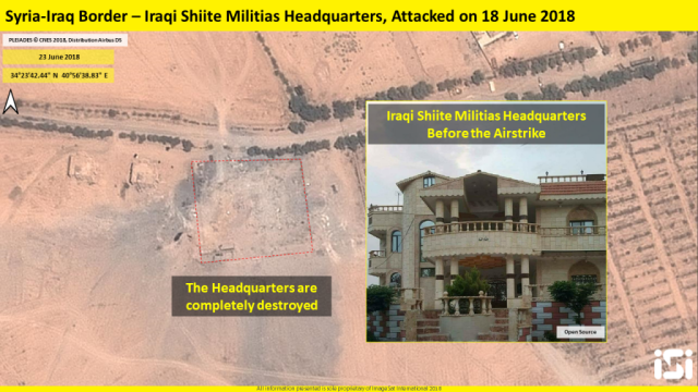 A satellite image of Iraqi Shi'ite headquarters before and after the strike.