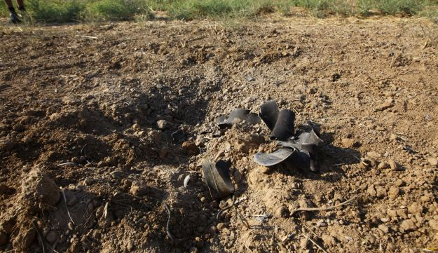 Damage from a mortar that exploded in Nahal Oz over the weekend