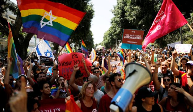Protestors during a LGBT protest against discriminatory surrogate bill in Tel Aviv, July 22, 2018.